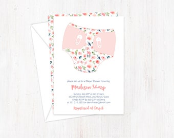 Floral Baby Shower invites, Diaper Shower Invites, Diapers and Wipes Shower Cards, Double-sided invitations, Printed Diaper Shower Invites