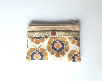 Liberty and camel suede wallet bosphurus, glitter fabric, Pocket for credit card