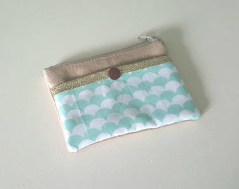 Fabric and camel suede wallet pastel blue and white geometric/graphic, fabric glitter pocket for credit card