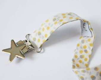 Yellow and gray tones fabric pacifier clip
