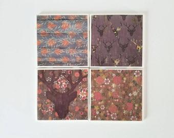 Distressed wood coasters, set of 4, ceramic coasters, housewarming gift, tile coasters, distressed wood decor