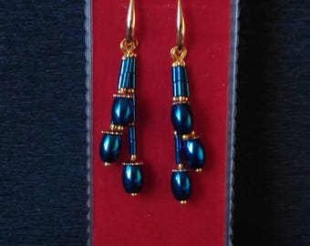 Blue natural stone Hematite earrings Tassel earrings Long earrings Handmade jewellery