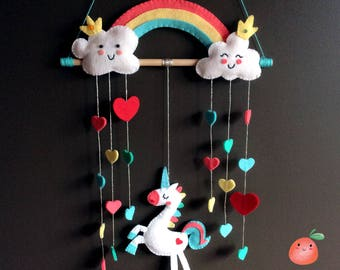 playful mobile or wall decor fantasy Unicorn, Rainbow, clouds and cascade of hearts, wool felt, cotton and wood