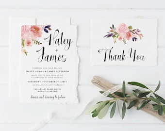 Floral Wedding Invitation, Floral Wedding Invitation Template, Floral Wedding Invitation Set, Digital Wedding Invitation, Wedding Printable