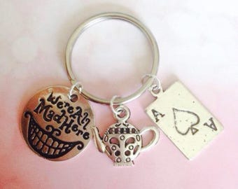 Mad Hatters Tea Party Keyring, Alice In Woderland Keychain, Fandom Personalised Keyring, Cheshire Cat Bag Charm, Back To School