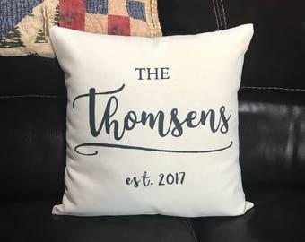 Custom Last Name Decorative Pillow Wedding Gift Throw Pillow Shower Gift Pillow