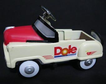 Vintage Dole Pineapple Diecast Pedal Car, Golden Wheel Pedal Car, Collectible Diecast Pedal Car
