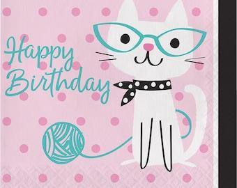 Pretty Kitty Birthday Party Napkins/ Cat Birthday Party Napkins/ Kitty Party Napkins/ Cat Party