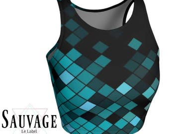 Geometric Blue hues • Athletic crop top • Festivals and yoga classes approved • handmade in Montreal - Xs to XL