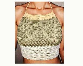 Woman, halter top, crochet