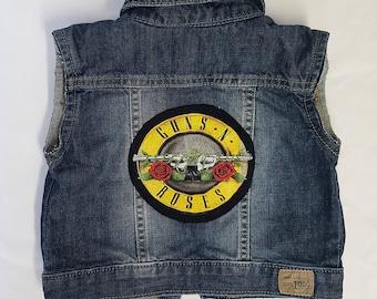 Baby Guns N Roses rock denim vest-size: 0-3MONTHS