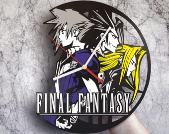 Final Fantasy art, Vinyl record wall clock, Kingdom hearts art, Final Fantasy XV, Video game art, Video game decor, Video game gifts