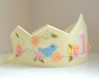 Felt Crown with Bird, Birthday Crown, Wool Felt Crown, Blue Bird, First Birthday Girl, Smash Cake