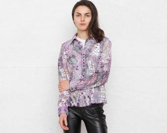 Vintage Purple Transparent Blouse Shirt/ Size GB 12 or Medium
