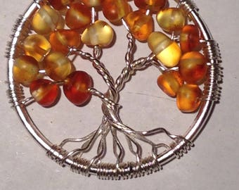 Natural Amber Tree of Life Pendant Necklace with Artistic Wire Silver  Plated. Tarnish Resistant Silver.Natural honey Amber of the Baltic
