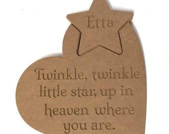 Memorial star, Twinkle Twinkle, Wooden memorial plaque, Engraved memorial, Engraved heart, Engraved star