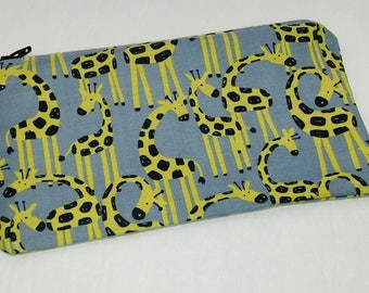 Yellow Giraffes on Blue Novelty Zipper Pouch - makeup bag; pencil case; gift for her; cosmetic bag; carry all; gadget case