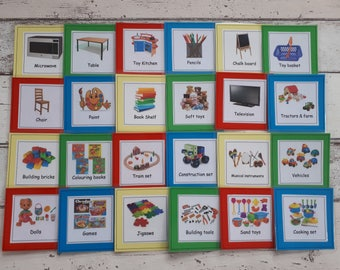 Toy box labels, labels for the playroom, Montessori classroom labels, label toy boxes, independence, reading resource, visual labels, SEN.