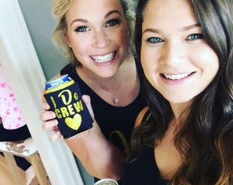 I DO CREW Drink Coolers Bachelorette Party Favors, Gold Glitter Drink Cooler Favors, Bachelorette Survival Kit, Bottle Can Holders