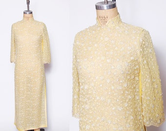 Vintage 50s sequin tunic dress / yellow cheongsam / long lace tunic / Asian tunic dress / evening wear / Mandarin dress