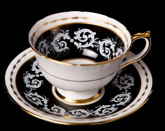 1930's Black Aynsley with Raised White Pattern
