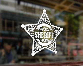 SHERIFF Vinyl Stickers Funny Decals Bumper Car Auto Computer Laptop Wall Window Glass Skateboard Snowboard Helmet