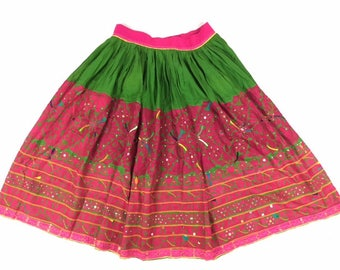 Unique hand embroidered Indian skirt gypsy festival - 33 inch flexible waist