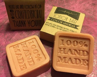 Organic Homemade Lotion Bar (cocoa-lavender)/Wedding Souvenirs/Baby Shower/Gifts