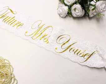 Future Mrs Sash - Bridal Sash - Bride to be sash - Bachelorette sash - Wedding sash - Bride lace sash - Bachelorette party - Bride gift