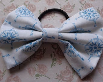 White And Blue Nautical Pattern Print Fabric Hair Bow