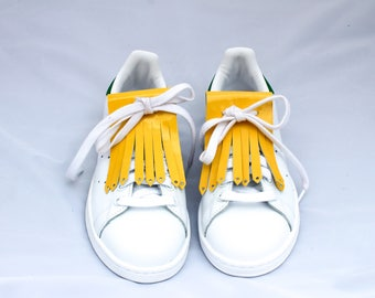 Fringe leather yellow sneakers