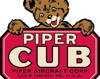 Vintage Piper Cub Banner  FREE SHIPPING