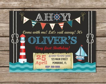 Nautical Birthday Invitation, Anchor Invitation, Sailor Birthday Invitation, Nautical Invitation, Anchors Away, Ahoy Invitation, Birthday