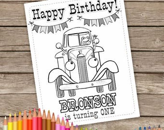 Little Blue Truck Digital Birthday Coloring Pages, 6 Personalized Printable Birthday Wedding Activity Sheet, Little Blue Truck Party favor