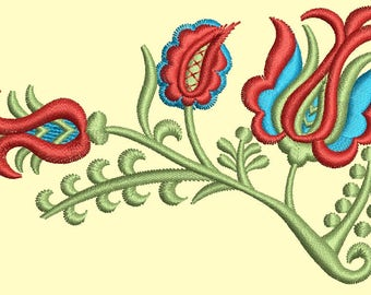 oriental flower - twig with tulips Machine Embroidery Design