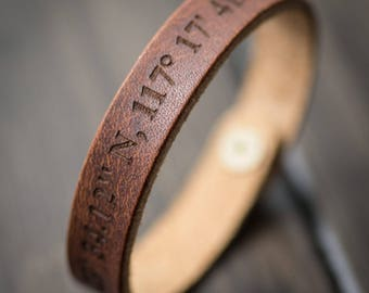 Latitude Longitude Bracelet, Personalized Bracelet, GPS Coordinates, Leather Bracelet, Custom Coordinates Bracelet- English Tan