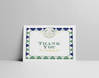 "Golf Lover's: A Hole in One Surprise Party by Arbor Grace Collections, 5.5"" x 8.5"" PRINTABLE Thank You Cards, Golf Theme, Birthday Party"