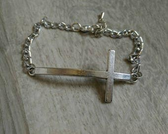 Silver tone large cross bracelet
