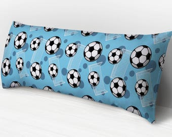 Blue Soccer Body Pillow - Soccer Ball and Goal Pattern on Blue - 20 x 54 & Body pillow cover | Etsy pillowsntoast.com