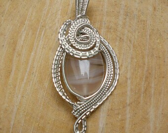 """Pendant """" larme d'argent"""" Botswana agate - pendant wire wrapping agate of the Botswana - Necklace  Botswana agate"""