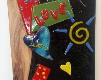 Fun In Love Glass and Mixed Media Wall Art