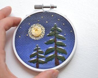Embroidery night scene