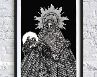 Decorated Dark Art Grim Reaper Macabre Skull Skeleton A3 print