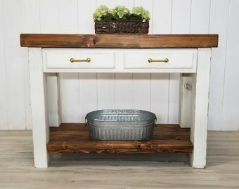 Rustic Modern Country Farmhouse Solid Wood Kitchen Island