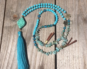 Waterdrop collection, great long necklace ethnic style, turquoise, tassel and cinnabar, semi-precious amazonite beads