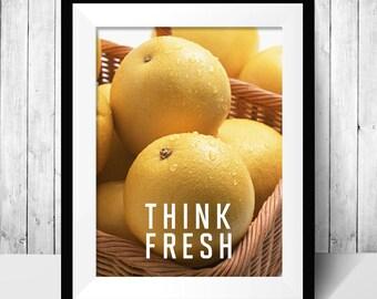 Think fresh orange fresh wall plaque art, digital download printable