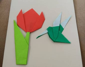 Customized Tulip and Hummingbird Greeting Cards Blank Inside with Matching Envelope