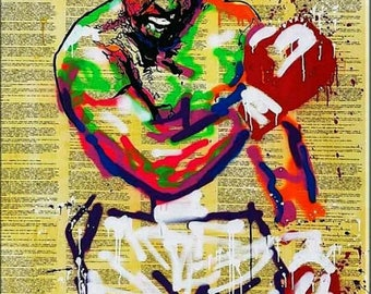 ALEC MONOPOLY Ali punch  - Reprod On Paper Archival210m OR Canvas hdprint, Museum Gallery Stretched