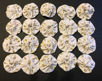 20 Fabric Yo-Yos White & Gold Polka Dots