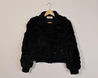 Rabbit Fur Coat, Vintage Fur Coat, 70s Fur Coat, Black Fur Coat, Short Fur Coat, Vintage 70s Coat, Womens 70s Coat Medium